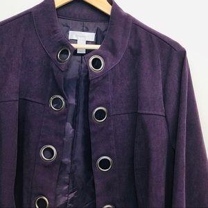 Dress Barn Plum Faux Suede Jacket Gromet 14 / 16